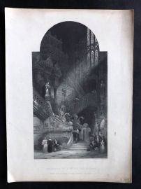 After David Roberts C1860 Art Journal Print. Interior of Burgos Cathedral, Spain